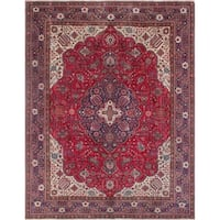 Vintage Distressed Rahmatullah Red/Blue Rug (9'6 x 11'3)