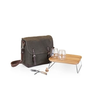 ONIVA Adventure Wine Tote, (Khaki Green with Brown)