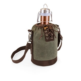 LEGACY® Insulated Growler Khaki Green & Brown Tote with 64-oz. Copper Stainless Steel Growler