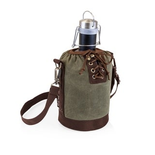 LEGACY® Insulated Growler Khaki Green & Brown Tote with 64-oz. Matte Black Stainless Steel Growler
