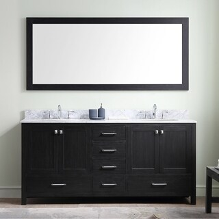 Caroline Premium 72-inch White Marble Double Bathroom Vanity Set