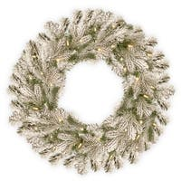"""30"""" Snowy Sheffield Spruce Wreath with Battery Operated LED Lights"""