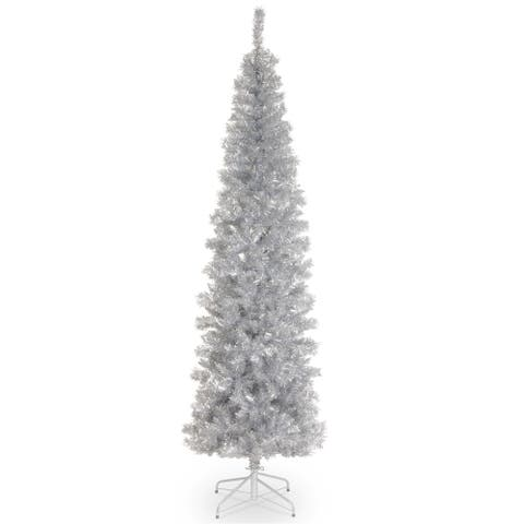 National Tree Company 7' Silver Decorative Tinsel Christmas Tree with Metal Stand