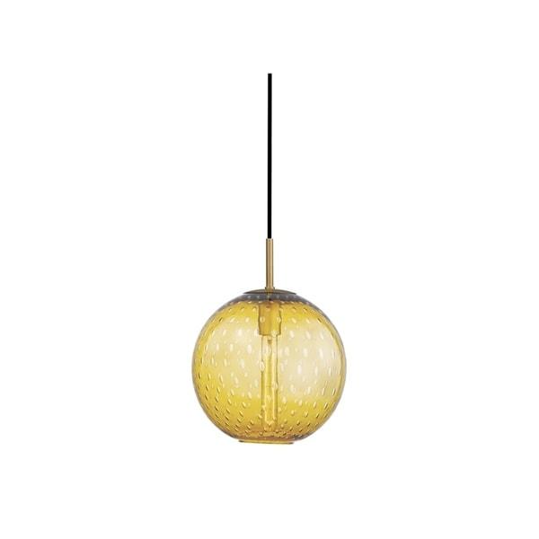 Hudson Valley Rousseau Aged Brass Metal Medium Pendant, Light Amber Glass