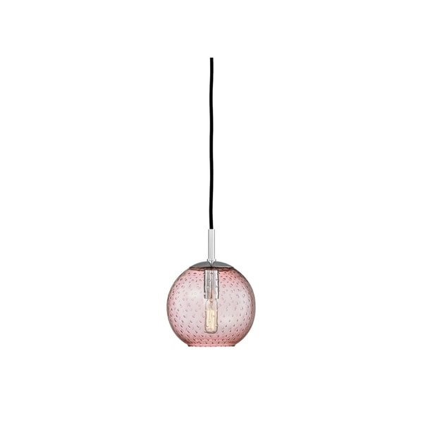 Hudson Valley Lighting Rousseau Polished Chrome Metal/Pink Glass Small Pendant