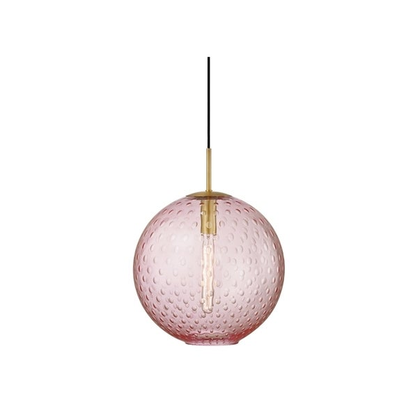 Hudson Valley Rousseau Aged Brass Metal Large Pendant, Pink Glass