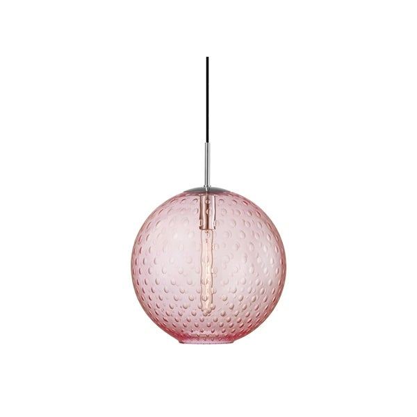 Hudson Valley Rousseau Polished Chrome Metal Large Pendant, Pink Glass