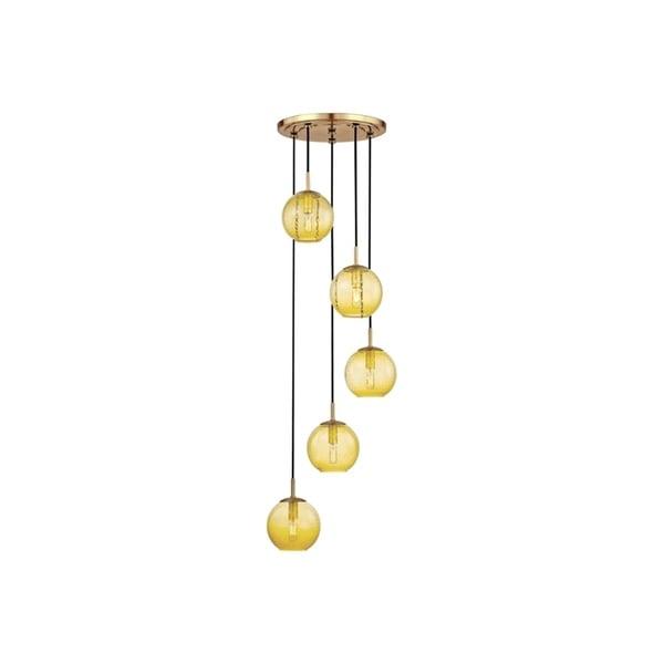 Hudson Valley Rousseau Aged Brass Metal 5-light Cluster Pendant, Light Amber Glass