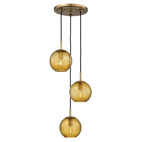 Hudson Valley Rousseau Aged Brass Metal 3 Light Cluster Pendant, Light  Amber Glass