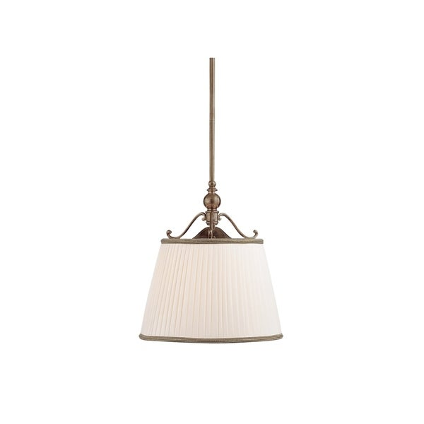 Hudson Valley Lighting Orchard Park Historic-bronze Metal 1-light Island Pendant Light With Off-white Faux Silk Shade