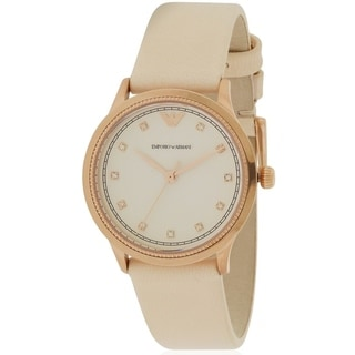 Emporio Armani Rose Gold-Tone Leather Ladies Watch AR1913