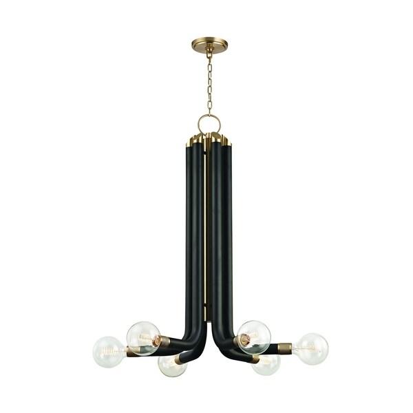 Hudson Valley Desmond Aged Brass, Black Iron 6-light Chandelier