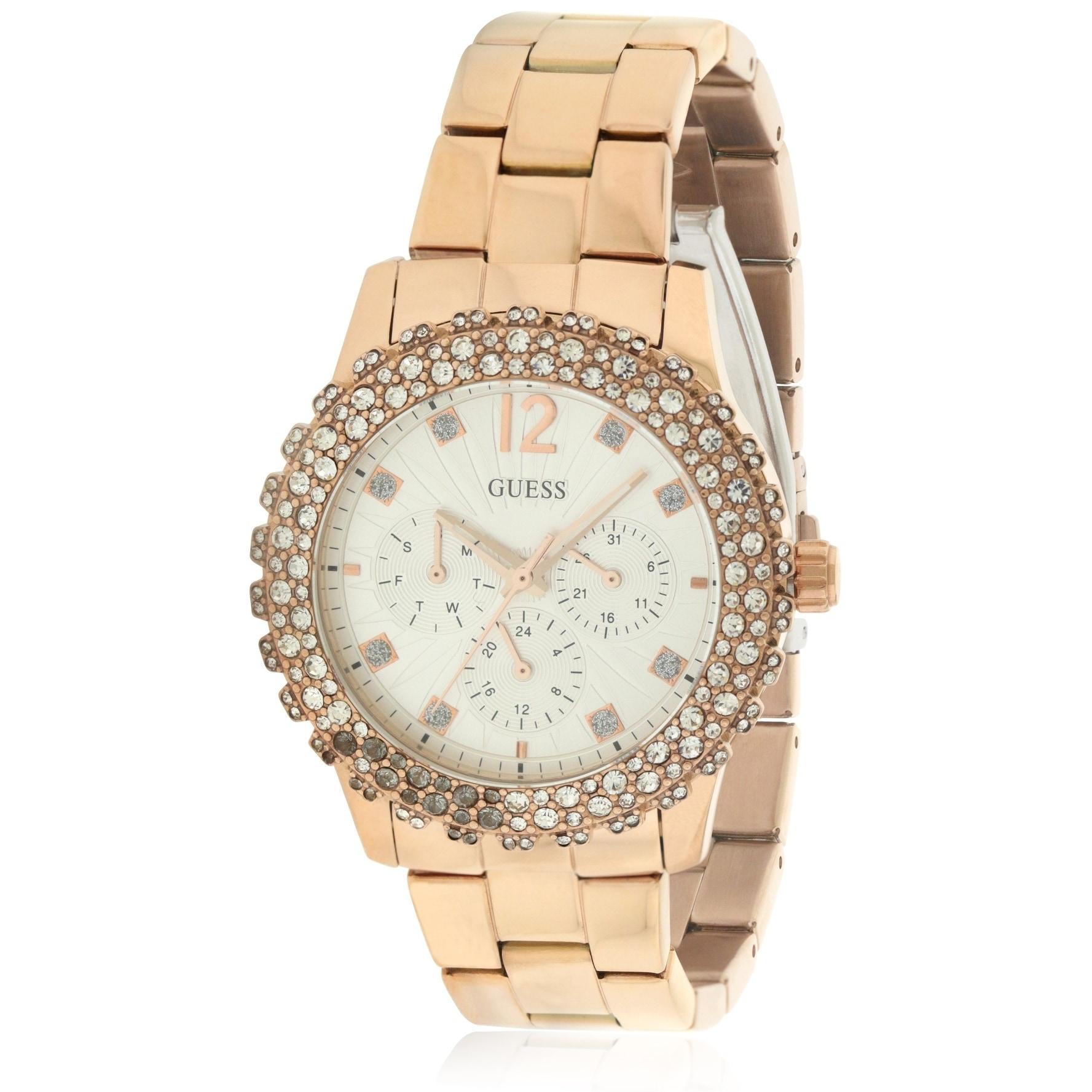 Guess Rose Gold-Tone Shimmering Ladies Watch U0335L3, Whi...