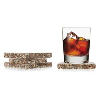 "Sweet Home Collection 4 Piece Brown Granite Coaster Set (4""x4"")"