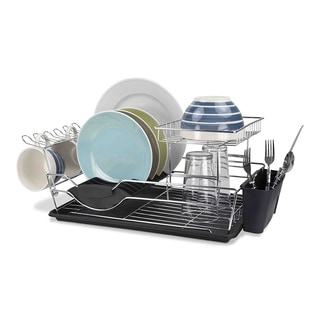 """Sweet Home Collection Two Tier Black Dish Drainer (9""""X18""""X12"""")"""