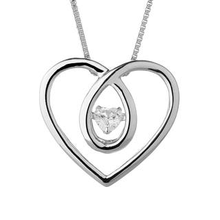 Charles & Colvard Sterling Silver 1/4ct DEW Forever Classic Moissanite in Motion Heart Pendant - White|https://ak1.ostkcdn.com/images/products/17282824/P23533529.jpg?impolicy=medium