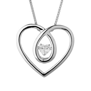 Charles & Colvard Sterling Silver 1/4ct DEW Forever Classic Moissanite in Motion Heart Pendant - White