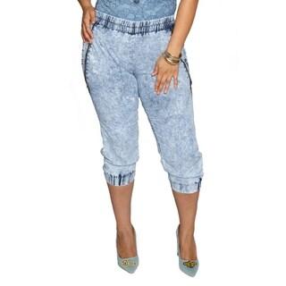 Xehar Womens Plus Size Zig Zag Acid Wash Zipper Jogger Pants