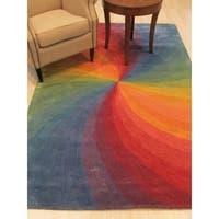 Hand-tufted Wool Lollipop Contemporary Abstract Swirl Rug - 5' x 8'