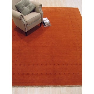 Handmade Wool Orange Traditional Solid Lori Baft Rug - 6' x 9'