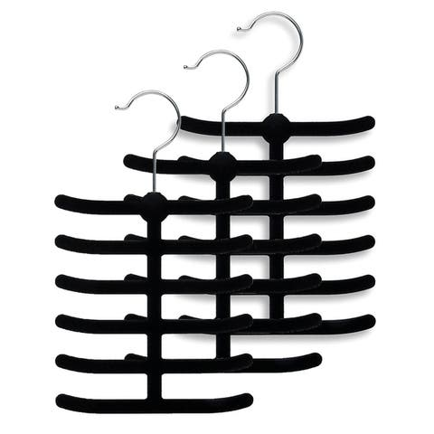 Sweet Home Collection Velvet Tie Hanger Set ( 3 and 6 Packs)