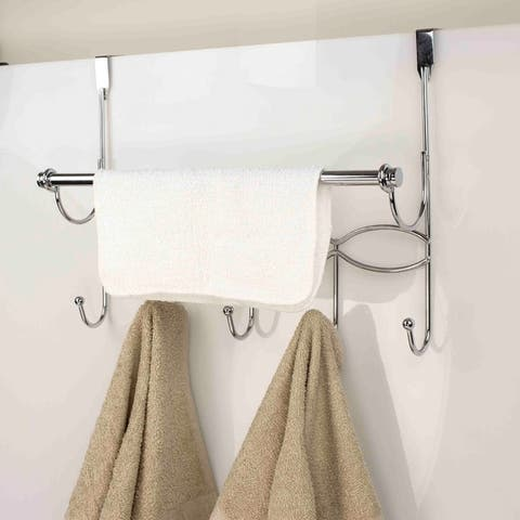 "Sweet Home Collection Chrome Over The Door Hook With Towel Bar (17.75""x13.5""x5"")"