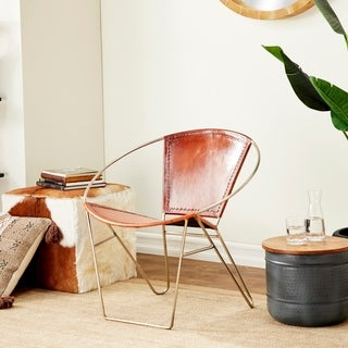 30u201d X 29u201d Contemporary Style Brown Goat Leather Chair With Circular Metal  Frame By
