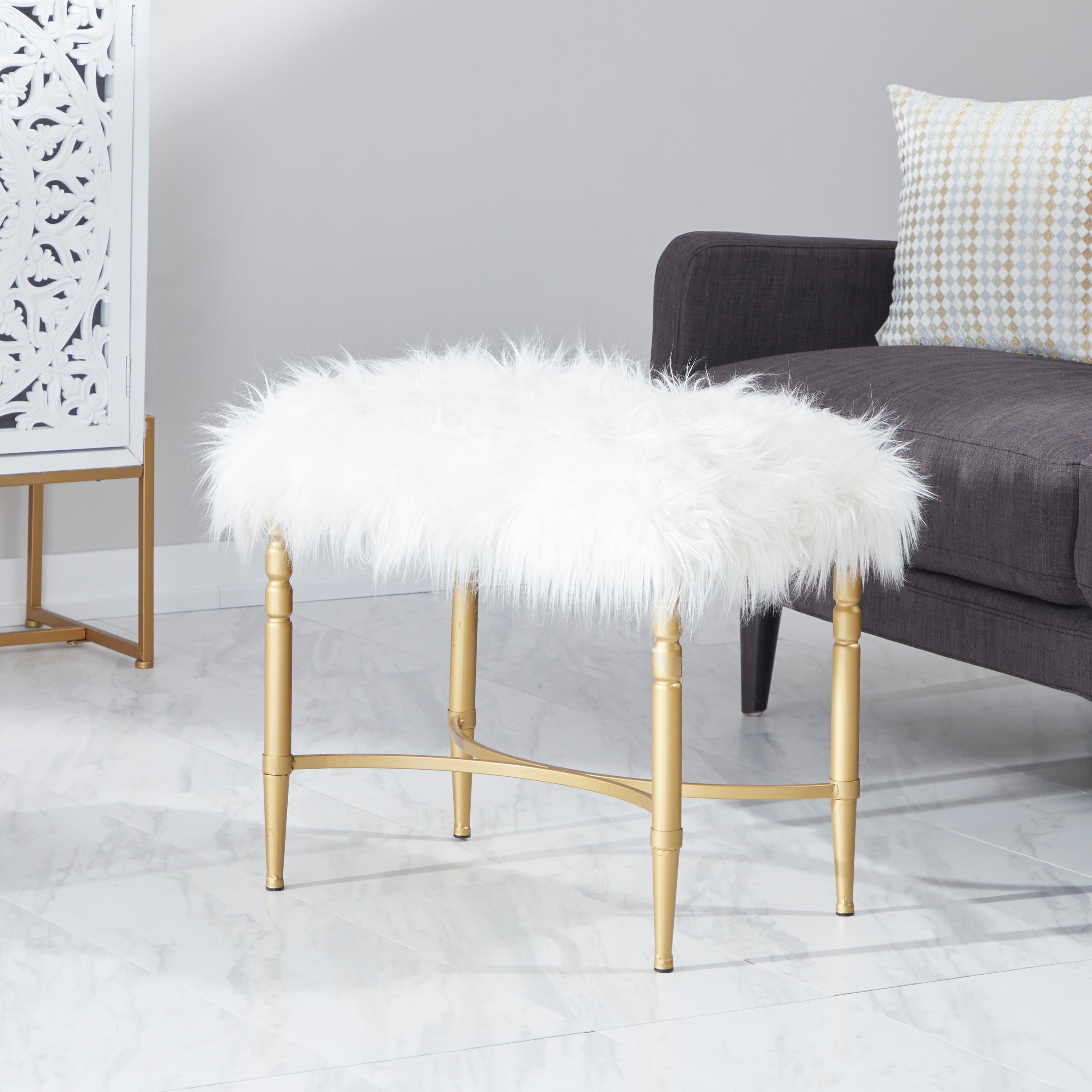 Studio 350 Metal Faux Fur Stool 26 inches wide, 20 inches...