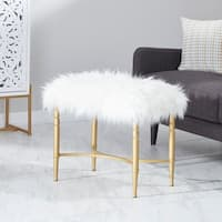 Contemporary 20 x 26 Inch Wood, Iron and Faux Fur Stool by Studio 350