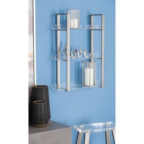 Modern 25 x 19 Inch Iron and Acrylic 3-Tiered Wall Shelf by Studio 350
