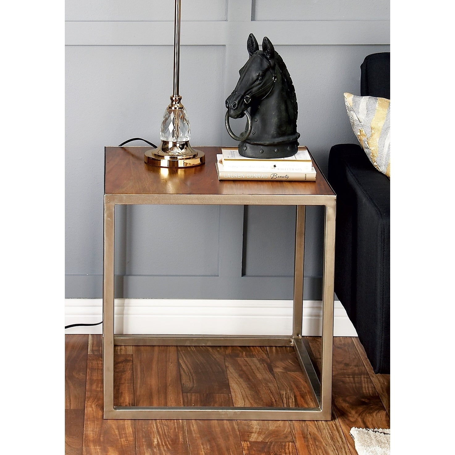 Shop Studio 350 Metal Wood Side Table 22 inches wide, 22 inches