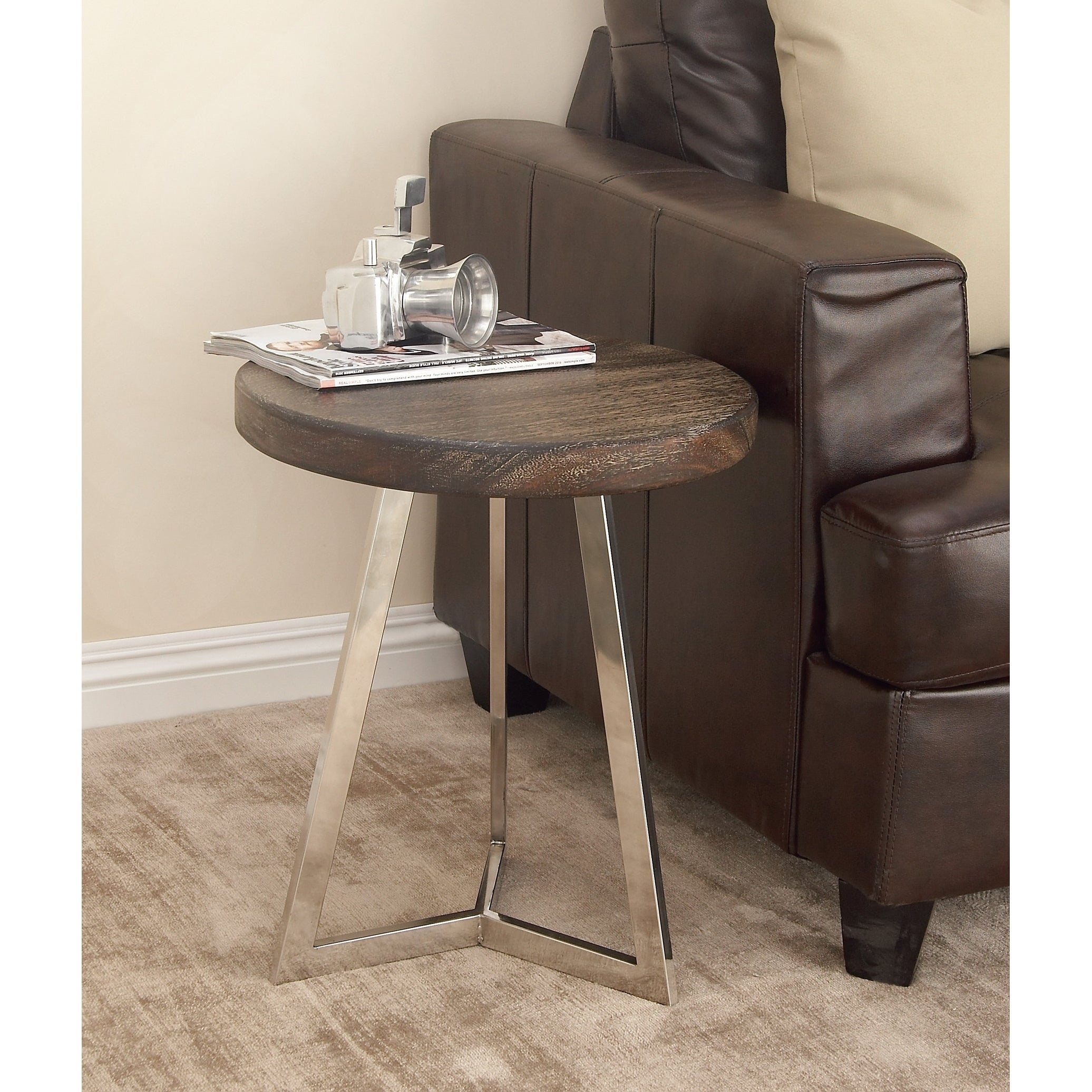 Shop Studio 350 Stainless Steel Wood Accent Table 18 inches wide