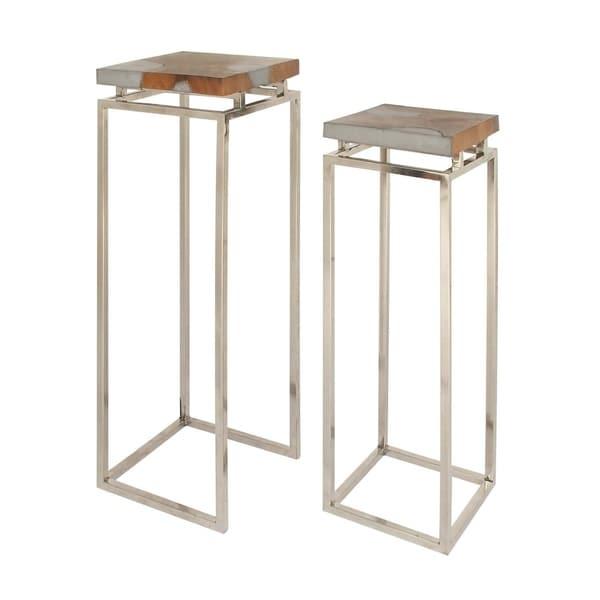 Studio 350 Teak Aluminum Pedestal Set of 2, 37 inches, 42 inches high