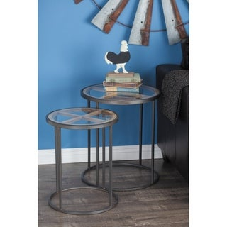 Studio 350 Metal Glass Wood Table Set of 3, 18 inches, 20 inches, 22 inches high