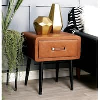 Studio 350 Wood Leather Side Table 19 inches wide, 21 inches high