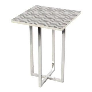 Studio 350 Stainless Steel Wood Inlay Table 15 inches wide, 21 inches high