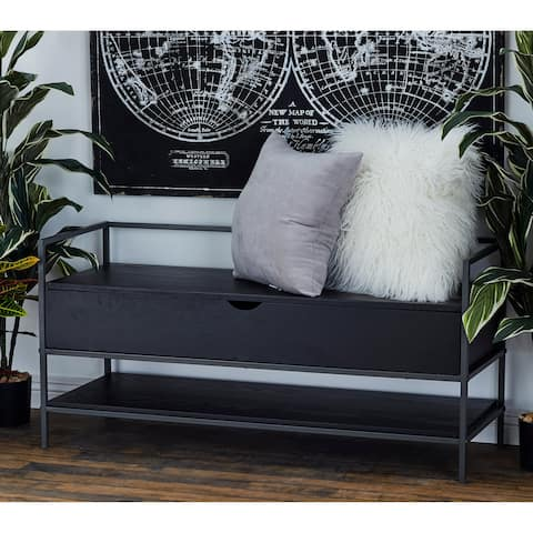Contemporary Rectangular Metal and Wood Storage Bench by Studio 350