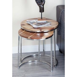 Studio 350 Wood Stainless Steel Nest Table Set of 3, 19 inches ,20 inches ,22 inches high