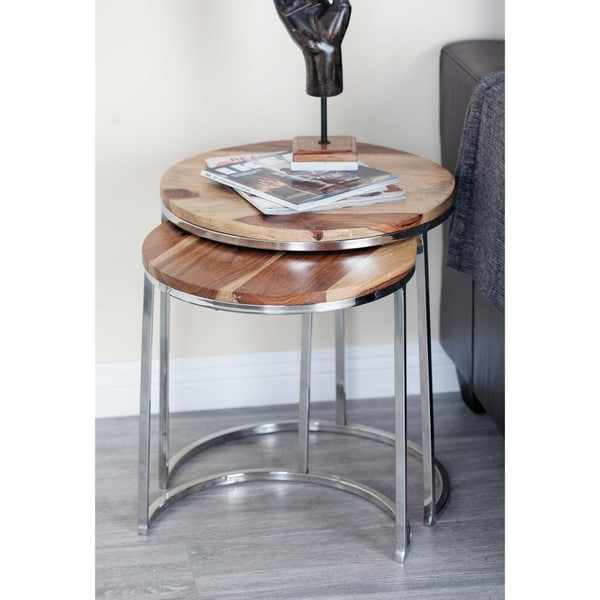 Set of 3 Modern Wood and Stainless Steel Nesting Tables by Studio 350
