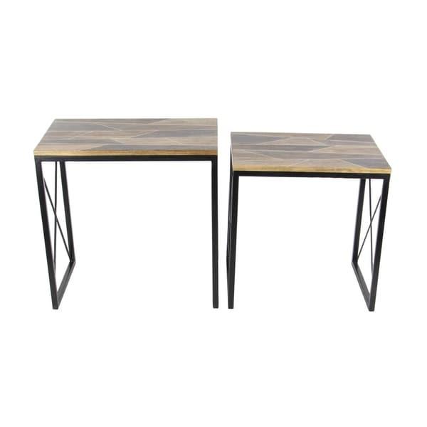 Shop studio metal wood nesting table set of