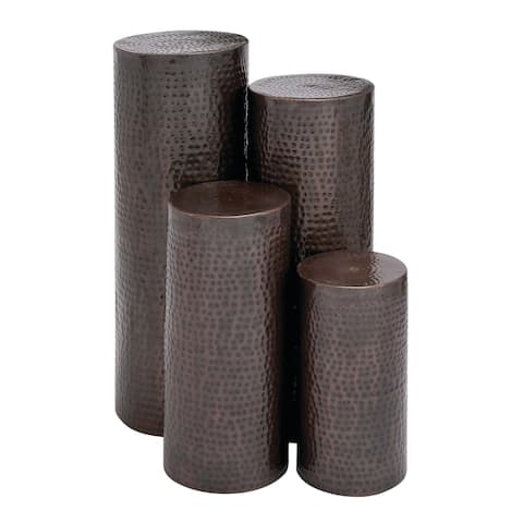 Set of 4 Rustic 18, 24, 32, and 36 Inch Iron Pedestals by Studio 350