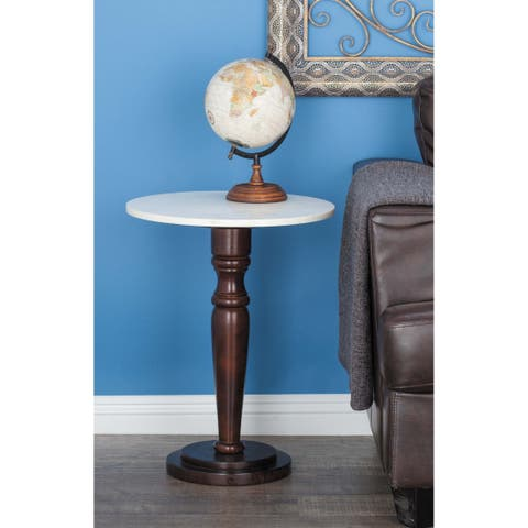 Traditional 23 Inch Round Marble and Wood Accent Table by Studio 350