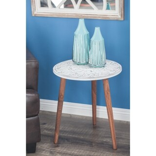 Modern 21 Inch Carved Mandala Design Wooden Accent Table by Studio 350