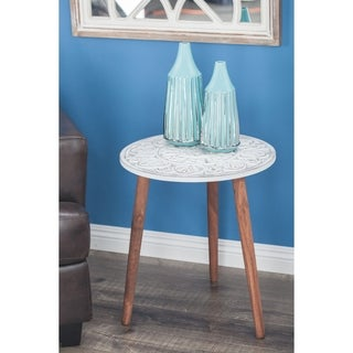 Studio 350 Wood Carved Accent Table 19 inches wide, 21 inches high