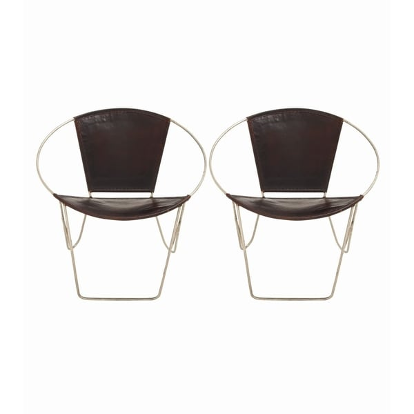 Studio 350 Set Of 2, Metal Real Leather Chair 30 Inches Wide, 29 Inches