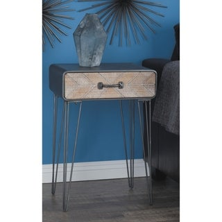 Modern 26 Inch Black Iron and Wood End Table with Drawer by Studio 350