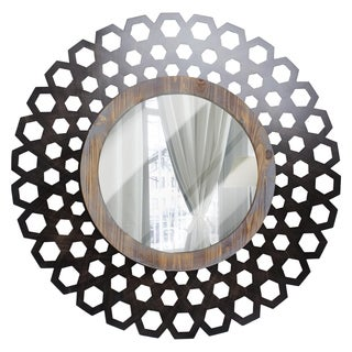 Large Round Wood Metal Framed Mirror Wall Decor