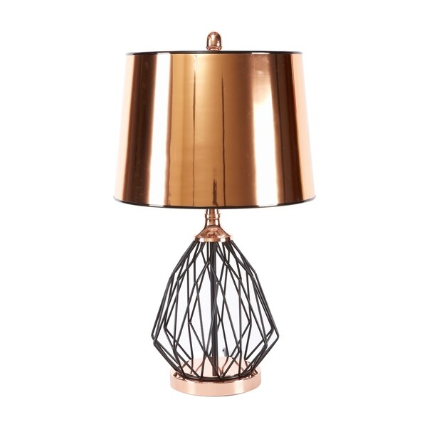 Geoff Geometric Cage Table Lamp with Copper Shade