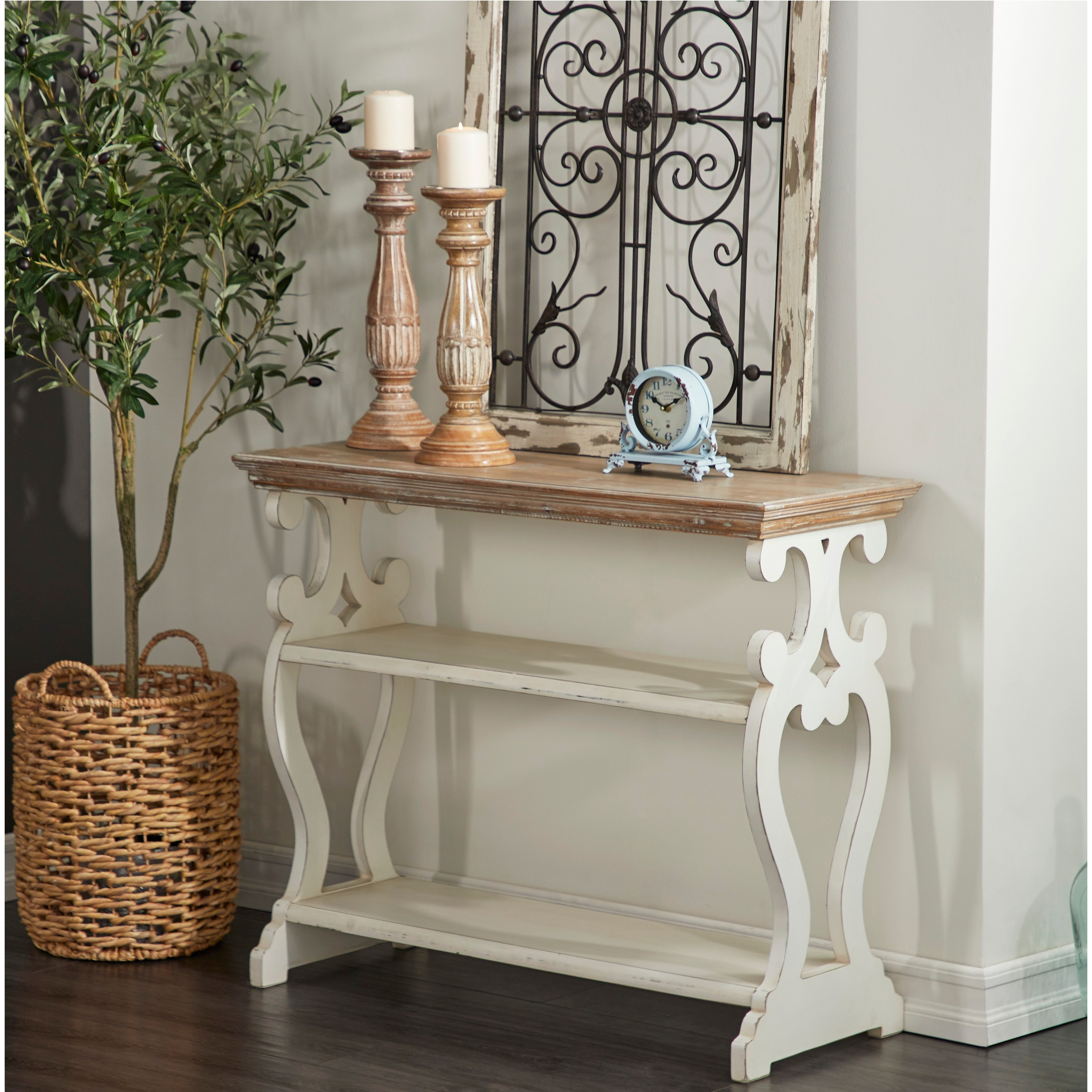 Studio 350 Wood Brown, White Console Table