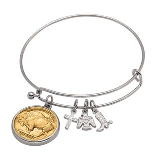 American Coin Treasures Western Charm Silver Tone Gold Layered Buffalo Nickel Reverse Coin Bangle Bracelet